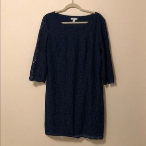 London Times Navy Lace Dress